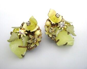 Vintage Yellow Cluster Bead Earrings w/ Enamel Flowers & Lucite