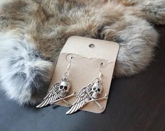 Olivia Paige - Rockabilly Sugar skulls Pirate wings earrings Halloween