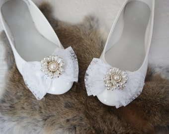 Olivia Paige -Wedding Bridal Flats  with Cameo Pearls Lace Bows /  Wedding shoes size  8