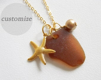 CUSTOM Amber Brown Sea Glass, Gold Starfish Charm Necklace, Glass Pearl, Authentic Beach Glass Jewelry, Genuine Seaglass Necklace