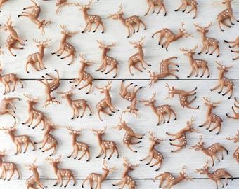 Miniature Plastic Deer Bulk Set - 50 Tiny Woodland Deer Craft Figurines