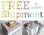 Free Shipment  SET 6 Piece Turkish BATH Towel - Turkey Peshtemal - Classic Peshtemal - White - Dark gray - White - Beige