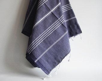 SALE 50 OFF/ Turkish Beach Bath Towel / Classic Peshtemal / Denim Blue / Wedding Gift, Spa, Swim, Pool Towels and Pareo