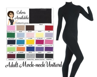 UNITARD /Adult ---Mock- Neck Long Sleeve Unitard....Colors Available great for COSTUMES/HALLOWEEN