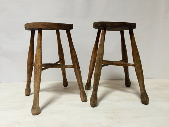 Primitive Wood Stool Rustic Farmhouse Furniture Decor Antique