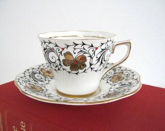Vintage Rosina Tea Cup and Saucer Bone China Ceramic Teacup Red Beaded Moriage 24k Gold Black Vine English Ceramic 1950s 5437