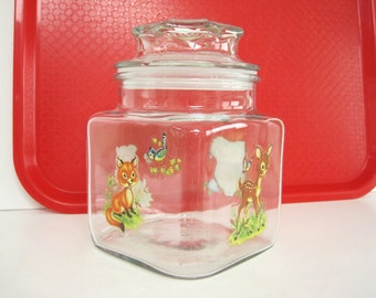 Vintage Glass Square Canister Jar Animal Deer Fawn Bear Owl Fox Decal Childrens Room Decor Baby Shower Gift Storage