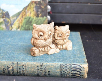 Small Vintage Owl Animal Figurine Owl Decor Home Decor Miniature Collection Brown Curio Pair Curio Display Owls Miniature Owl Small Gift