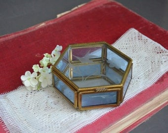 Vintage Glass and Brass Display - Mirrored Blue - Etched Hinged Jewelry Box - Ball Feet - Tiny Small SIx Sided - Mexico