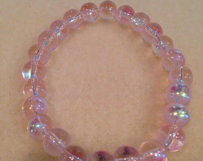 Pale Pink Aurora Borealis Crystal Glass 8mm Bead Stretch Bracelet Iridescent Glow