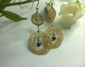 Earrings Crochet GoldFilledWire Cascade with Spinel Crystal Hematite RESERVED for Irina
