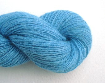Luxury Merino Blend Recycled Yarn, Fingering Weight, Aqua Blue, Lot 040915