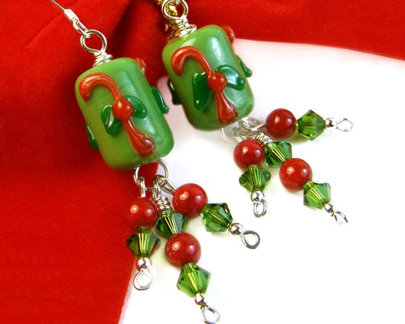 Candy Cane Christmas Earrings with Green Crystal, Red Coral Cluster, Sterling, Handmade
