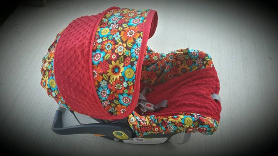 Bright colored Floral with Red minky- Infant car seat cover- Custom Order