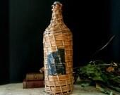 Vintage Brandy Bottle Wrapped in Woven Straw / Demijohn / Wicker / Black Label