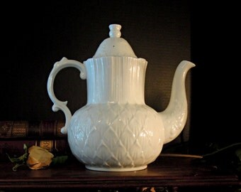 Vintage Thistle Coffee Pot / White Porcelain / Bone China / Hammersley & Co. / Thistle and Artichoke Design / Tea Pot
