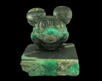 Disney Fans Carved Colombian Emerald Mickey Mouse with Base