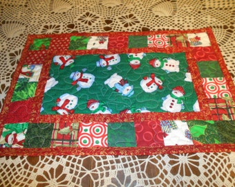Snowman with Patchwork Border Blocks Quilted Patchwork Placemat or Table topper
