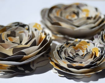 Bumble Bee inspired Rose Spiral Paper Flowers for Weddings, Bouquets, Events and Crafts Yellow, Grey, Black