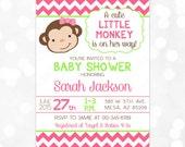 Monkey Baby Shower Invitation - Girl Baby Shower Invite Pink Green Chevron Little Monkey It's A Girl DIY Printable Invite PDF (Item #6)