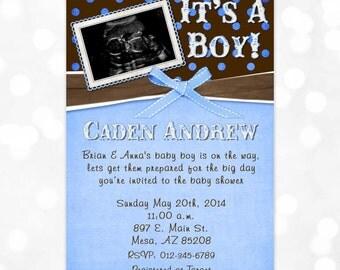 Boy Baby Shower Invite - Blue Brown Shower Invite Polka Dots It's A Boy Baby Shower Invite Ultrasound Invite Sonogram (Item #7)