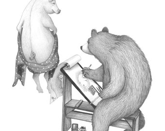8x10 Print of Bear and Pig Life Drawing