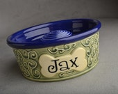 Slow Feeder Personalized Dog Bowl Single Made To Order Curls Dog Bowl by Symmetrical Pottery