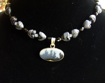 Delicate  Genuine Dendritic Agate Pendant with Vintage Jet Bead and Sterling Necklace