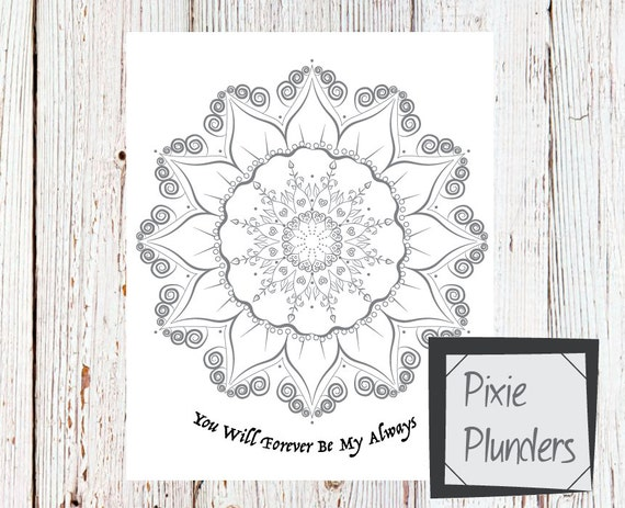 Mandala Colouring Card - Forever & Always - INSTANT DOWNLOAD