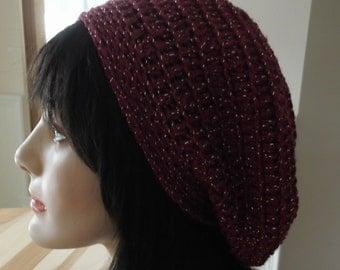 Raspberry Hat Slouchy Crochet Hat French Beret Raspberry Sparkle Tam Sparkles