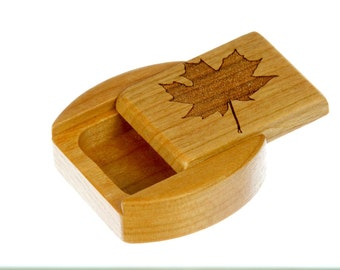 "DISCONTINUED - REDUCE PRICE Maple Leaf Sliding Lid Storage Box, 1-3/4""L x 1-7/8""W x 3/4""D, Solid Cherry, Mini Box, Paul Szewc"