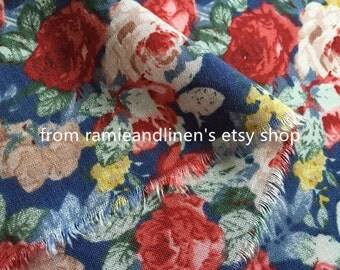 "rayon fabric, retro floral print rayon fabric, half yard by 54"" wide"