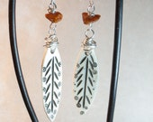 Bone feather earrings with Amber Nuggets on Silver Plated Wire - Tribe of Amber - Boho Chic Art Jewelry by Ardent Life