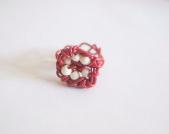 Red Wire Nest Ring - Boho Chic Art Jewelry for the Eclectic Soul by Sarah McTernen
