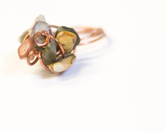 Copper Stone Art Statement Ring Picasso Jasper Chips on hammered copper Simple Statement - Bouldering -  Boho Chic Art Jewelry Ardent Life