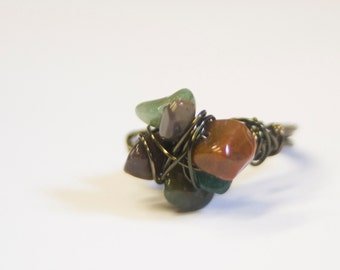 Ocean Jasper on Gunmetal Wire Ring Unique Art ring - Sea Stack -  Boho Chic Art Jewelry By Ardent LIfe