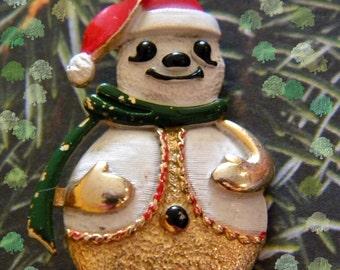 BJ Snowman Brooch Vintage Christmas Holiday