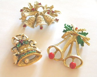 Three Vintage Christmas Bell Holiday Brooches