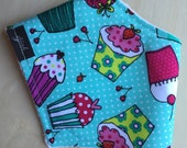 Sweet Sugar Cakes Bandana Bib, Cotton, Dribble Bib, Baby Girl