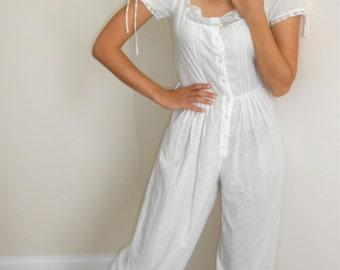 Vintage 1970s white cotton and lace square neck, balloon-leg onesie, size 0 / 2