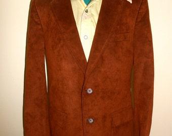 Vintage 1970s NORDSTROM CLARIDGE COLLECTiON brown microsuede blazer / sport coat, size 44