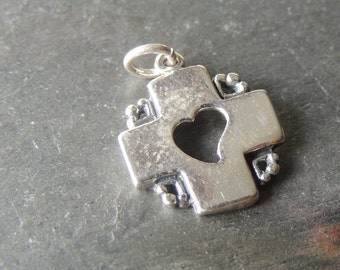 SALE 30% OFF Sterling Silver Cross Charm, Sterling Silver Heart Charm, Handcrafted Silver Charm, Artisan Jewelry