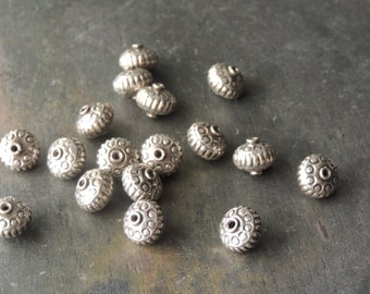 35% OFF SALE Thai Silver Spacer Beads, Karen Hill Tribe Silver, Handmade Silver Beads, Silver Flower Beads, Artisan Jewelry, 925 Sterling Si