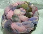 Camo Pink Spinning Fiber Variegated Multicolor Roving Hand dyed Merino Top Wool Fiber 19.5 Micron, 4 ounces