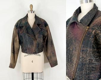 80s Vintage Leather Moto Jacket (L)