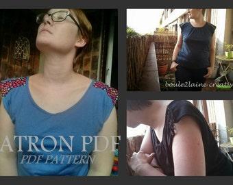 PDF Pattern DIY Woman Tshirt tank / Patron et tuto tshirt femme Patelle S-M-L du 38 au 44