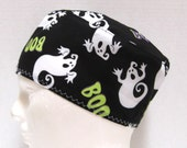 Mens Scrub Hat or Surgical Cap Halloween Ghosts on Black