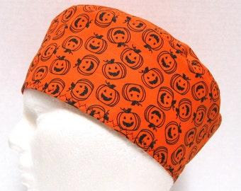 Halloween Mens Scrub Cap Pumpkin Jack O Lantern Outlines on Orange