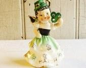 Vintage Lefton March Irish Birthday Angel with Rhinestones, Shamrock and Leprechaun Hat - Hard-to-Find Figurine - Made in Japan 1950s