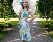 40s style Hawaiian sarong wrap dress, blue flowers on white, sizes XS to XXL